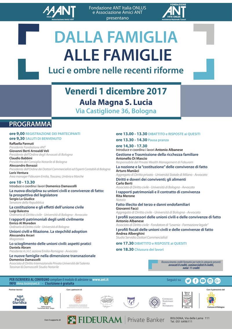 Convegno Annuale ANT locandina sulle riforme del diritto di famiglia